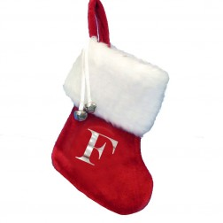 """Image of 7""""Red Stocking W/Wht Cuff+Letter F"""