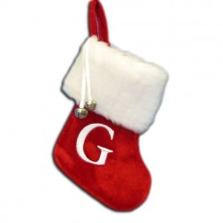 "Image of 7""Red/Wht Monogram ""G"" Mini Stockng"