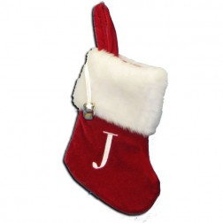 "Image of 7""Red/Wht Monogram ""J"" Mini Stockng"