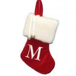 "Image of 7""Red/Wht Monogram ""M"" Mini Stockng"
