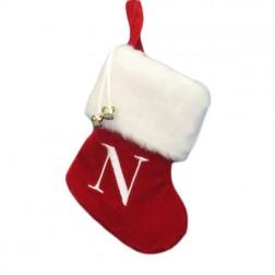 "Image of 7""Red/Wht Monogram ""N"" Mini Stockng"