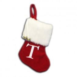 "Image of 7""Red/Wht Monogram ""T"" Mini Stockng"
