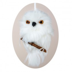 Image of White Hanging Owl With Branch Christmas Ornament