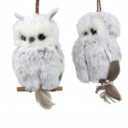 Image of Brown/White Hanging Owl Orns