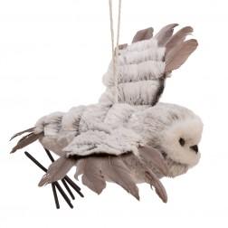 "Image of 13.78""Gray W/White Fur Flying Owl"