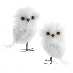 "Image of 4.73""White Owl Orn 2Pc Set"