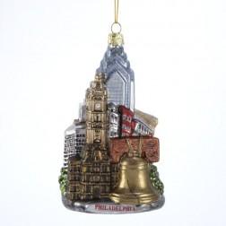 "5.5"" Glass Philadelphia Cityscape Ornament"