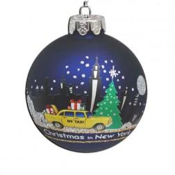 80mm New York Glass Ball Ornament