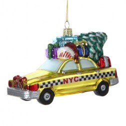 Image of NYC Checker Taxi with Tree Glass Ornament