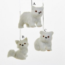 "2.35"" Plush White Bear/Fox Ornament"