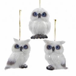 "Image of 2.75""Plush White Owl Orn 3/Asstd"