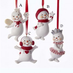 "2.8"" Red Snow Giggles Snowman Ornament"