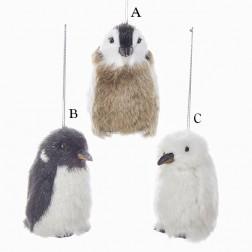 "3.35"" Furry Penguin Ornament"