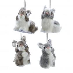 "Image of 3""Plastic Furry Bunny Orn 4/Asstd"