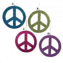 Glittered Wooden Peace Sign Christmas Ornament