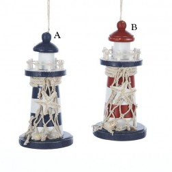 Red and Blue Lighthouse with Rope Trim and Starfish Ornament