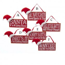 "5"" Wooden Sign with Santa Hat Ornament"