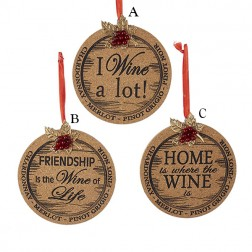 "Image of 4.5"" Wooden Cork Plaque Sign Ornament"