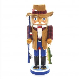 "Image of 12""Wooden Fishing Man Nutcracker"