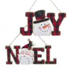 """Image of 4""""Wdn Santa Noel/Snwman Joy Plaques"""