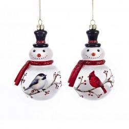 "Image of 5""Snowman Cardinal/Chickadee Orns"