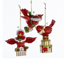 """3.5"""" Flying Red Bird with Gifts Ornament"""