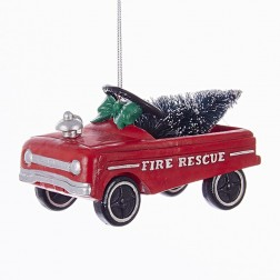 """4"""" """"Fire Rescue"""" Car with Christmas Tree Ornament"""