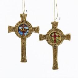 """4.5"""" Resin Religious Cross Ornament"""