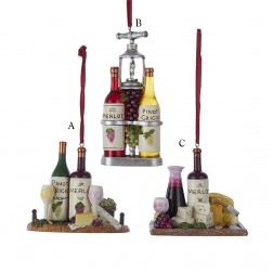 """3.125"""" Resin Wine and Cheese Tray Ornament"""