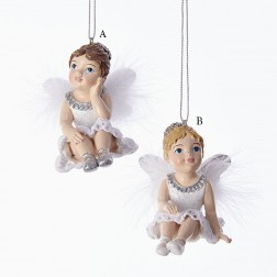 "2.75"" White and Silver Sitting Little Angel Ornament"