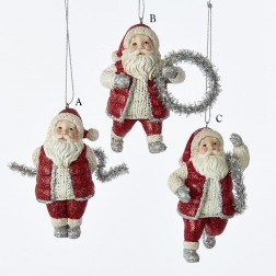 "3.5"" Resin Santa with Tinsel Ornament"