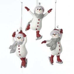 "4.5"" Red and Silver Ice Skating Snowman Ornament"