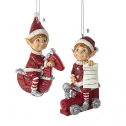 "3.75"" Red and Silver Elf on Toy Ornament"