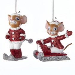 """3.5"""" Red and Silver Mouse on Sled/Ski Ornament"""