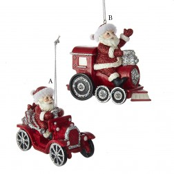 "3.75"" Red and Silver Santa in Car/Train Ornament"