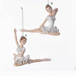 "4.25"" Resin Sitting Ballerina Ornament"