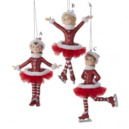 "5"" Red and Silver Ballerina/Ice Skater Ornament"