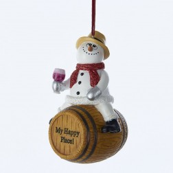 "4.25"" Snowman on Barrel Drinking Wine Ornament"
