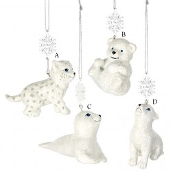 """4"""" Snow Wolf, Bear, Seal and Leopard Ornament"""