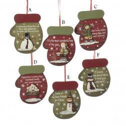 Wooden Mitten Ornament with Snowman Figure and Saying
