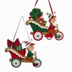 "4"" Wooden North Pole Elf in Car Ornament"