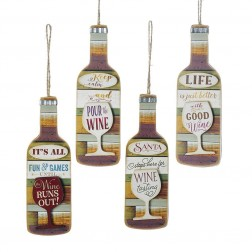 "Image of 6""Wooden Wine Bottle Orn 4/Asstd"