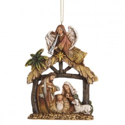 Angel and Holy Family Religious Nativity Christmas Ornament