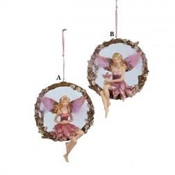 Plum Fair Sitting On Round Branch Ornament
