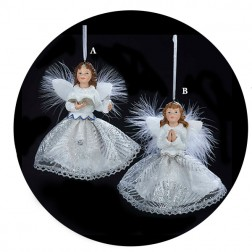 White or Silver with Blue Angels Praying or Reading Christmas Ornament