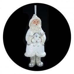 Blue/White  Santa With Bird House Christmas Ornament