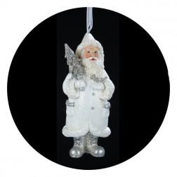 Blue/White Santa With Christmas Tree Ornament