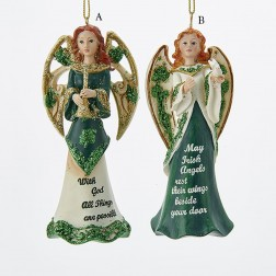 "4.5"" Resin Irish Angel with Saying Ornament"