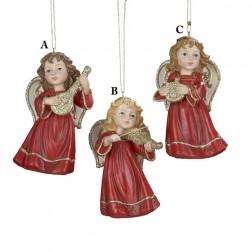 Red And Gold Cherub With Instrument Ornament Mandolin, Violin or Harp