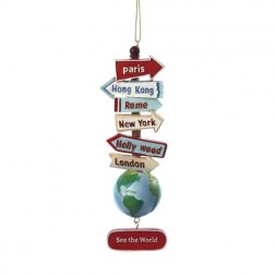 """5.5"""" Resin World Signs with Globe Ornament"""